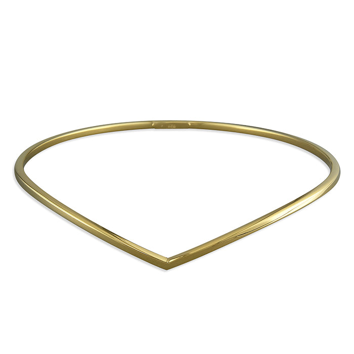 Sterling Silver Gold-Plated Wishbone Bangle