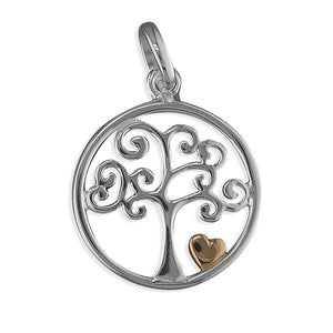 Sterling Silver Tree In Circle with Two-Tone Heart Pendant