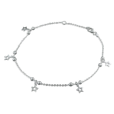 Sterling Silver Beads 23-25cm and Stars Anklet