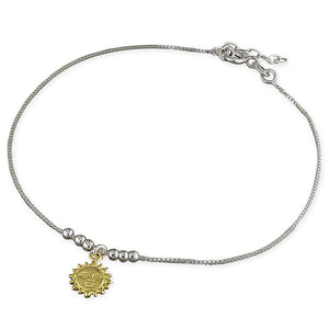 Sterling Silver Gold-Plated 25cm Sun Anklet