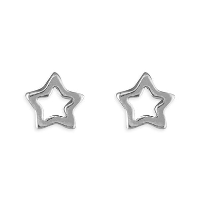 Sterling Silver Small Star Outline Stud Earring