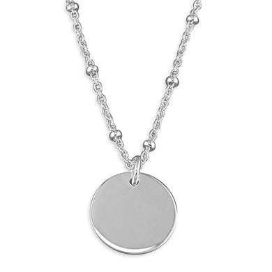 Sterling Silver Station Beads with Small Disc Necklace
