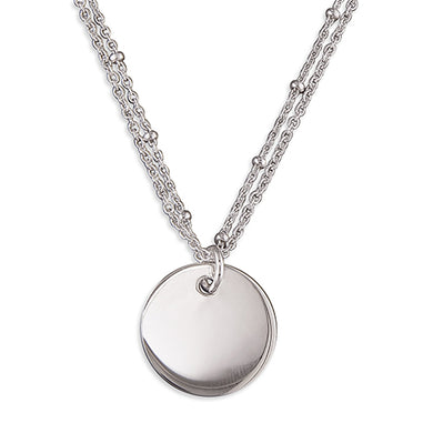 Sterling Silver Double Station Beads with Disc Necklace