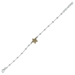 Sterling Silver Rose Gold-Plated 19cm Star On Beaded Chain Bracelet