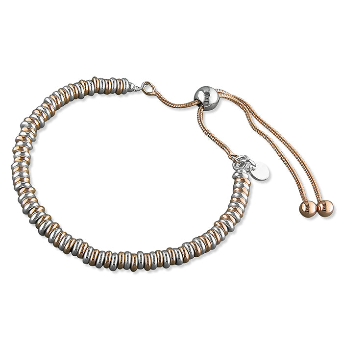 Sterling Silver Rose Gold-Plated and Silver Rings Slider Bracelet