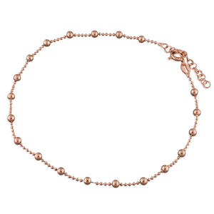 Sterling Silver Rose Gold-Plated 25cm Bead Chains with Beads Anklet