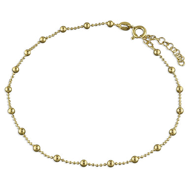 Sterling Silver Gold-Plated 25cm Bead Chain with Beads Anklet