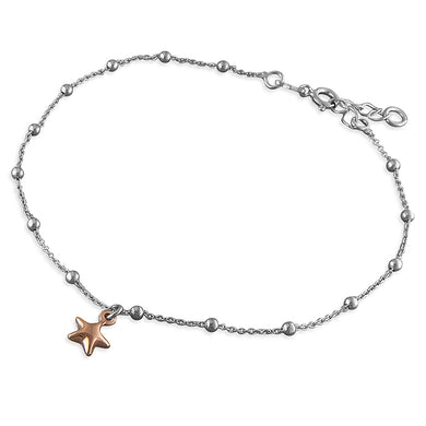 Sterling Silver Rose Gold-Plated 25cm Puff Star On Beaded Chain Anklet