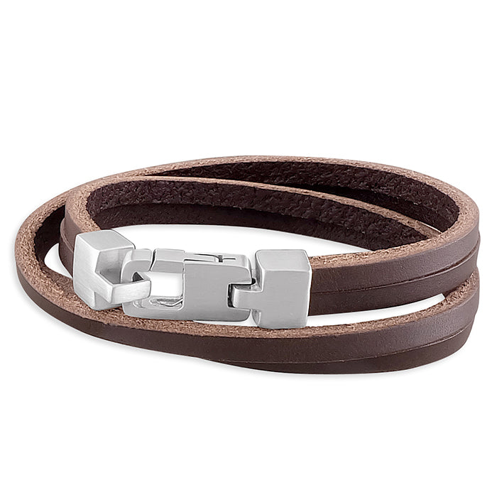 Sterling Silver Brown Leather Double Wrap-Around Bracelet