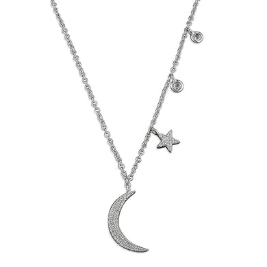 Sterling Silver Cubic Zirconia 40-45cm Moon, Star and Dots Necklace