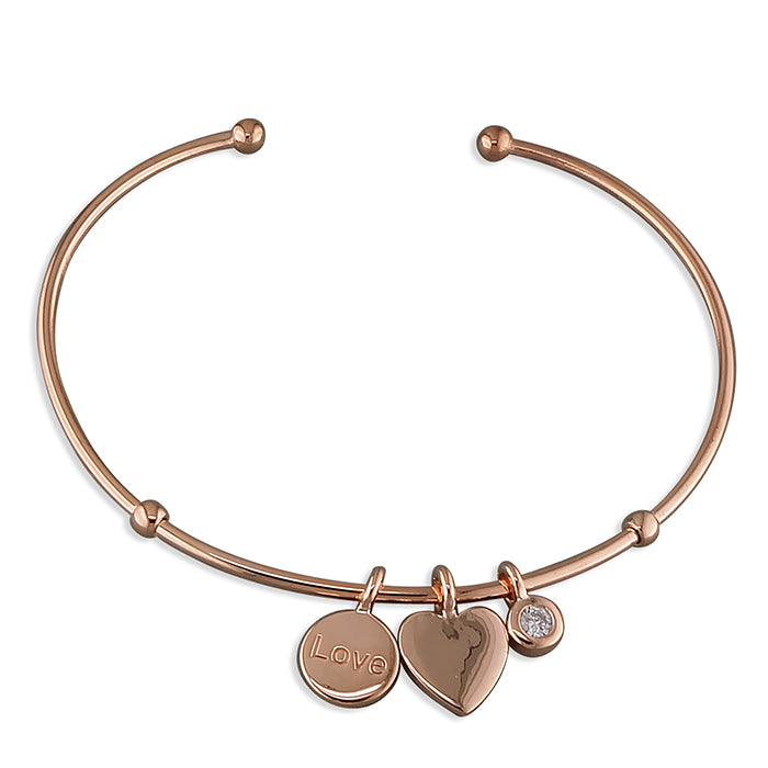 Sterling Silver Rose Gold-Plated Heart, Disc And Cubic Zirconia Thin Torc Bangle