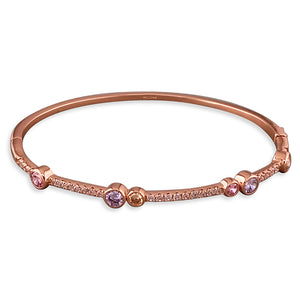 Sterling Silver Rose Gold-Plated with Coloured Cubic Zirconias Bangle