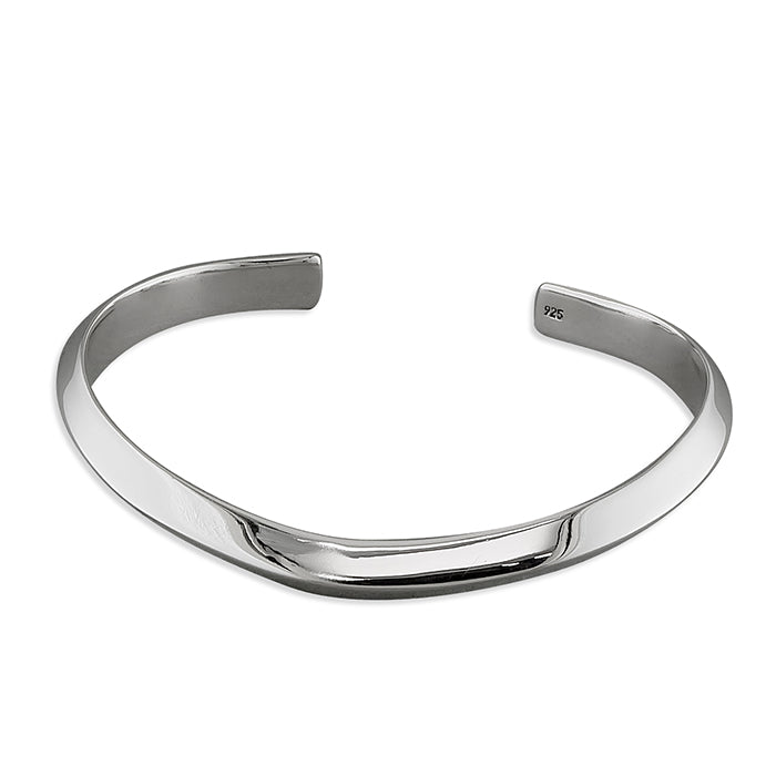 Sterling Silver Angled Curved Torc Cuff Bangle
