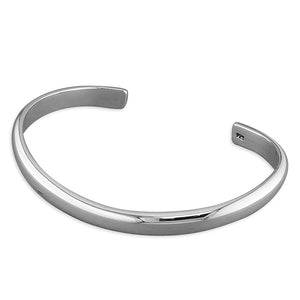Sterling Silver D-Shaped Wire Curved Torc Cuff Bangle.