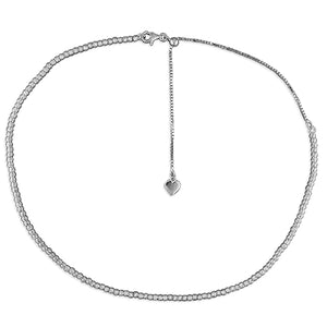 Sterling Silver Diamond-Cut 29-41cm Beads Slider Necklace