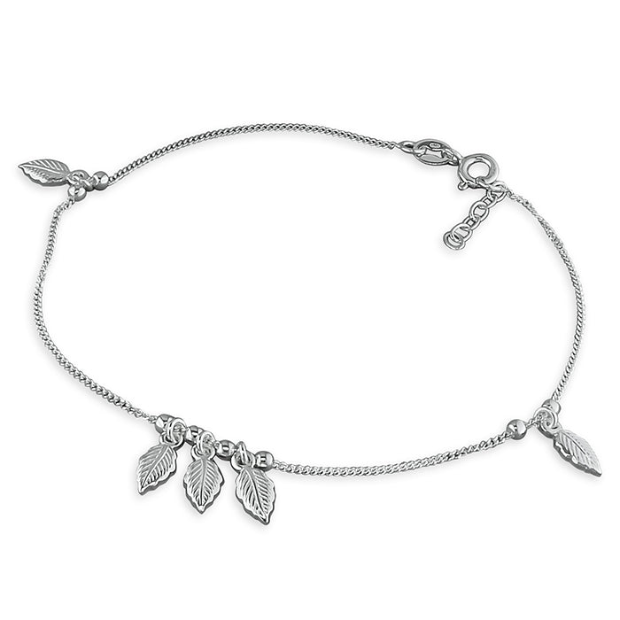 Sterling Silver 23-25cm 5-Leaf and Bead Anklet