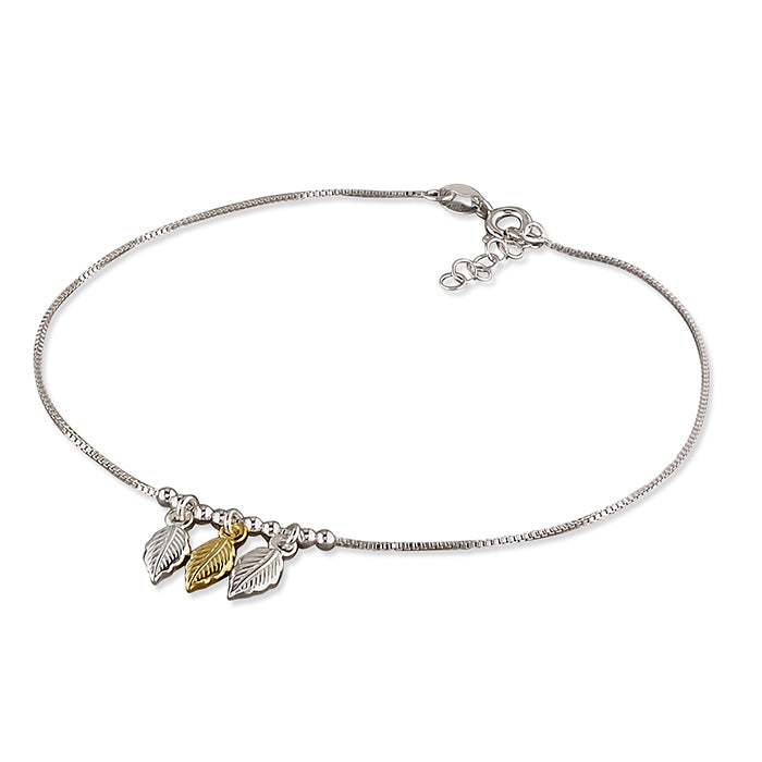 Sterling Silver Two-Tone 23-25cm Triple Leaves and Beads Anklet