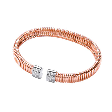 J-Jaz Sterling Silver & Rose Gold Plated Cubic Zirconia Torque Bangle - Queen of Silver