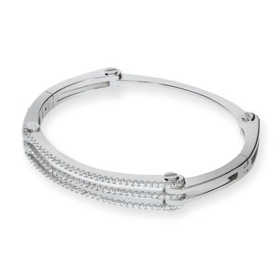 J-Jaz Sterling Silver Three Row CZ Bangle - Queen of Silver