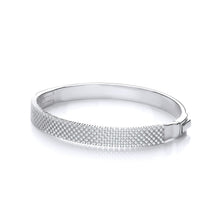 J-Jaz Sterling Silver Criss Cross CZ Rows Bangle - Queen of Silver