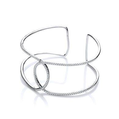 J-Jaz Sterling Silver Interlocking CZ Cuff Bangle - Queen of Silver