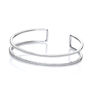 J-Jaz Sterling Silver Two Row CZ Cuff Bangle - Queen of Silver
