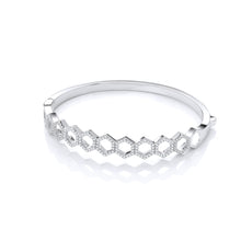 J-Jaz Sterling Silver Honeycomb Cubic Zirconia Bangle - Queen of Silver