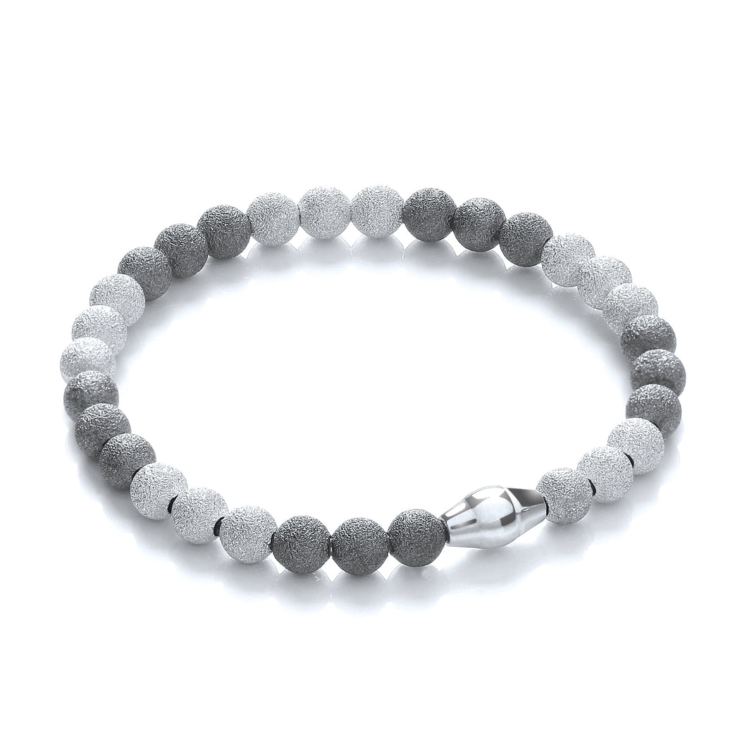 J-Jaz Sterling Silver Two Colour Frosty Finish Balls Bracelet - Queen of Silver