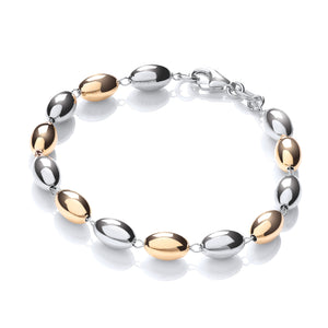 "J-Jaz Sterling Silver & Yellow Gold Plated 7"" Beads Bracelet - Queen of Silver"