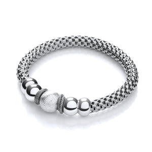 J-Jaz Sterling Silver Ruthenium Plated Beads Mesh Bracelet - Queen of Silver