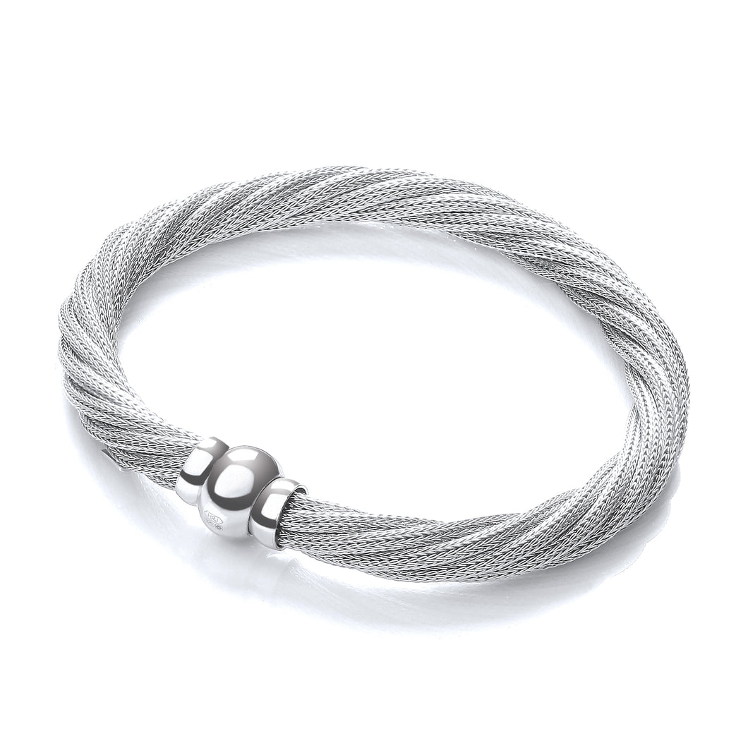 J-Jaz Sterling Silver & Rhodium Plated Twisted Mesh Bracelet - Queen of Silver