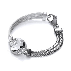 J-Jaz Sterling Silver & Ruthenium Plated Chunky Multi-Strand Bracelet - Queen of Silver