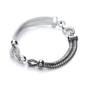 J-Jaz Sterling Silver & Ruthenium Plated Multi-Strand Bracelet - Queen of Silver