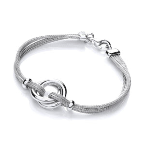 J-Jaz Sterling Silver & Ruthenium Plated Multi-Strand Rings Bracelet - Queen of Silver
