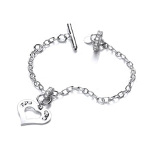 J-Jaz Sterling Silver Floating Swarovski Heart T-Bar Bracelet - Queen of Silver