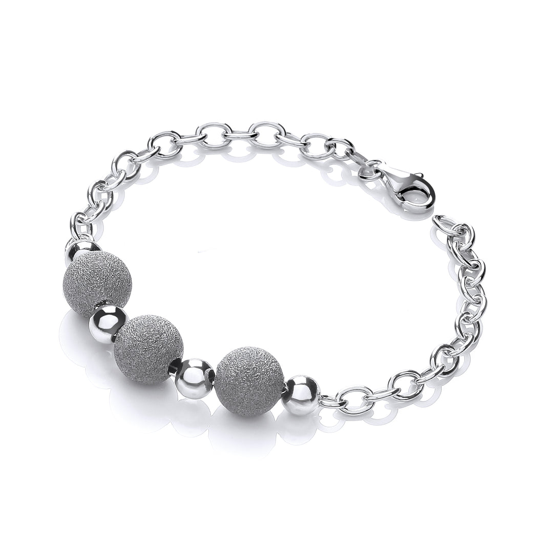 J-Jaz Sterling Silver Three Moondust Beads Bracelet - Queen of Silver