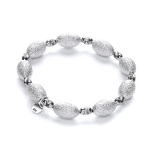 J-Jaz Sterling Silver Frosted & Ruthenium Beads Bracelet - Queen of Silver
