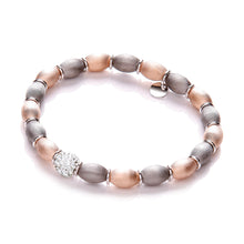 J-Jaz Sterling Silver Rose-Gold & Ruthenium Plated Beads Bracelet - Queen of Silver