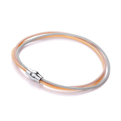 J-Jaz Sterling Silver, Yellow & Rose Gold Plated Thin Mesh Strands Bracelet - Queen of Silver