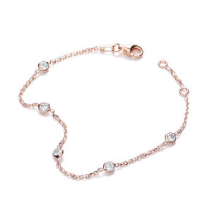 "J-Jaz Sterling Silver & Rose Gold Plated 7"" Rubover Cubic Zirconia Bracelet - Queen of Silver"