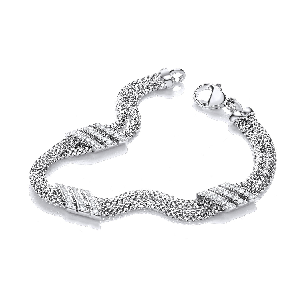 J-Jaz Sterling Silver CZ Two-Row Mesh Bracelet - Queen of Silver