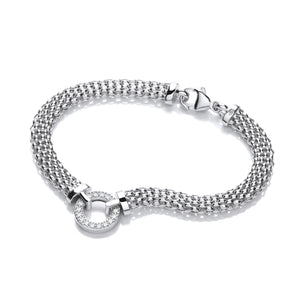 "J-Jaz Sterling Silver 7.5"" CZ Circle Centre Mesh Bracelet - Queen of Silver"