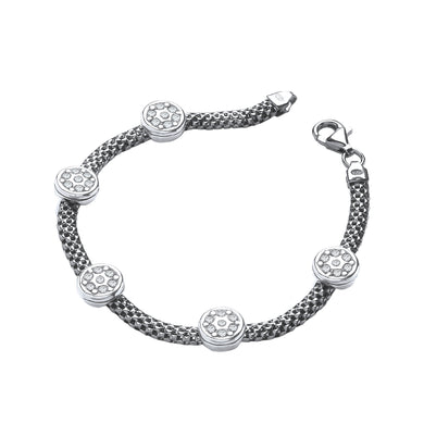 J-Jaz Sterling Silver & Ruthenium Plated CZ Circles Mesh Bracelet - Queen of Silver