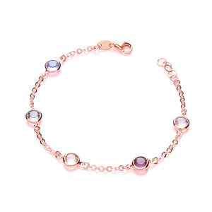 J-Jaz Sterling Silver & Rose Gold Plated Multi Colour CZ Bracelet - Queen of Silver