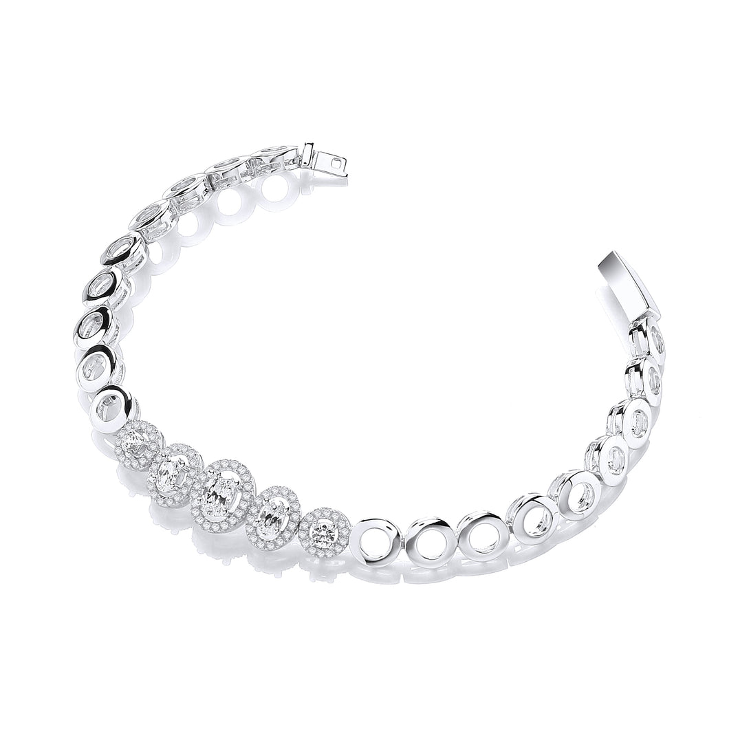 J-Jaz Sterling Silver Rings with Round & Oval CZ Bracelet - Queen of Silver