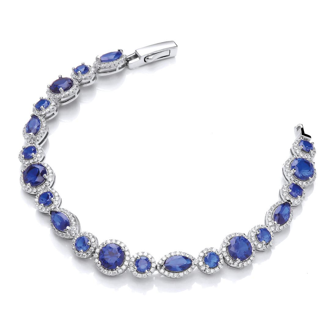 J-Jaz Sterling Silver Marquise & Round Blue CZ Tennis Bracelet - Queen of Silver