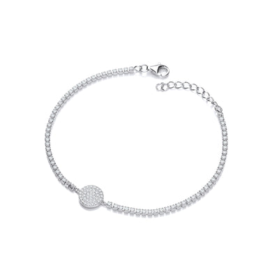 J-Jaz Sterling Silver Round CZ Disc Charm Tennis Bracelet - Queen of Silver