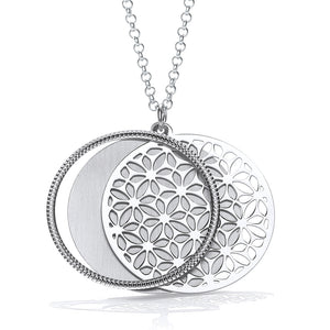 "J-Jaz Sterling Silver Round Filigree Circle Slider 18"" Necklace - Queen of Silver"