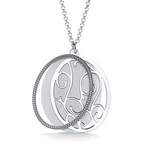 "J-Jaz Sterling Silver Big Oval Disc Slider 24"" Necklace - Queen of Silver"