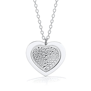 "J-Jaz Sterling Silver Fancy Heart Disc 18"" Necklace - Queen of Silver"